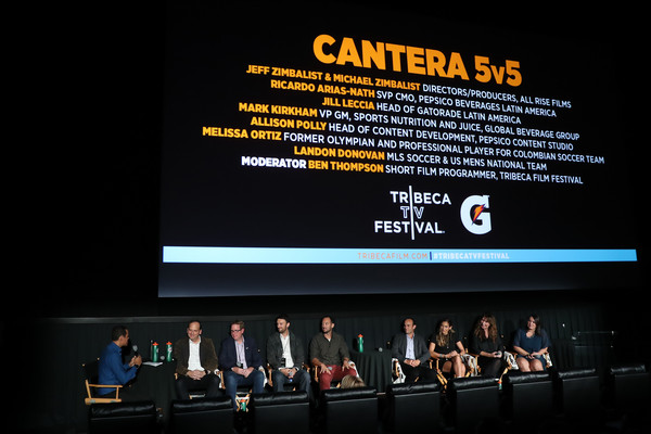 Premiere Of Docu-Series 'Cantera 5v5' During The Tribeca TV Festival [gatorade premiere of docu,auditorium,event,technology,display device,stage,convention,projection screen,media,cantera,filmmakers,vp,5v5,gatorade,juice,pepsico beverages latin america svp,shorts programmer tribeca,tribeca tv festival]