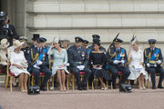 (L-R) Camilla, Duchess of Cornwall, Prince William, Duke of Cambridge, Catherine, Duchess of Cambridge, Prince Harry, Duke of Sussex, Meghan, Duchess of Sussex, Prince Andrew, Duke of York and Sophie, Countess of Wessex during the RAF 100 ceremony at Buckingham Palace, as members of the Royal Family attend events to mark the centenary of the RAF on July 10, 2018 in London, England.