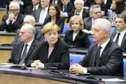 (L-R) President of the Bundestag Norbert Lammert, Chancellor Angela Merkel and Regional chairman of the Saxony CDU Stanislaw Tillich attend the state memorial ceremony to honor Hans-Dietrich Genscher at World Congress Center on April 17, 2016 in Bonn, Germany. Genscher, a member of the German Free Democrats (FDP), served as German foreign minister from 1974 to 1992 and was widely respected as a shrewd and successful diplomat through the end of the Cold War era.