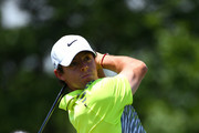 Rory McIlroy of Northern Ireland hits his tee shot on the first hole during the final round of the Memorial Tournament presented by Nationwide Insurance at Muirfield Village Golf Club on June 1, 2014 in Dublin, Ohio.