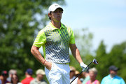 Rory McIlroy of Northern Ireland wallks off of the tee box after hitting his tee shot on the first hole during the final round of the Memorial Tournament presented by Nationwide Insurance at Muirfield Village Golf Club on June 1, 2014 in Dublin, Ohio.