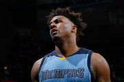 Alex Stepheson #35 of the Memphis Grizzlies reacts in the final seconds of their 95-83 loss to the Atlanta Hawks at Philips Arena on March 12, 2016 in Atlanta, Georgia.  NOTE TO USER User expressly acknowledges and agrees that, by downloading and or using this photograph, user is consenting to the terms and conditions of the Getty Images License Agreement.