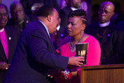 "Martin Luther King III (L) and his sister Bernice King hug as they attend the I AM 2018 ""Mountaintop Speech"" Commemoration at the Mason Temple Church of God in Christ, the same place their Martin Luther King, Jr. delivered his ""Mountaintop"" speech on the eve of his assassination, April 3, 2018 in Memphis, Tennessee. The city is commemorating the 50th anniversary of King's assassination on April 4, 1968."