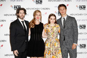 """Director Jason Reitman, producer Helen Estabrook and actors  Kaitlyn Dever and Ansel Elgort attend the Virgin Atlantic Gala VIP arrivals for """"Men, Women & Children"""" during the 58th BFI London Film Festival at Odeon Leicester Square on October 9, 2014 in London, England."""