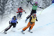 (FRANCE OUT) Anna Woerner of Germany, Kelsey Serwa of Canada, Ophelie David of France, Alizee Baron of France competes during the FIS Freestyle Ski World Cup Men's and Women's Ski Cross on January 16, 2013 in Megeve, France.