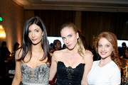 (L-R) Julia Jackson, a guest, and actress Sarah Hay attend the Annual Mercedes-Benz + ICON MANN 2017 Academy Awards viewing party at Four Seasons Hotel Los Angeles at Beverly Hills on February 26, 2017 in Los Angeles, California.