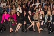 (L-) Rossy de Palma, Bibiana Fernandez, Alaka, Mario Vaquerizo, Marta Vaquerizo, Silvia Superstar, Topacio Fresh and Carmen Lomana attend Mercedes Benz Fashion Week Madrid W/F 2014 at Ifema on February 17, 2014 in Madrid, Spain.