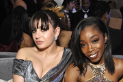 Charli XCX (L) and Estelle attend the Mercedes-Benz USA Awards Viewing Party at Four Seasons Los Angeles at Beverly Hills on February 24, 2019 in Los Angeles, California.