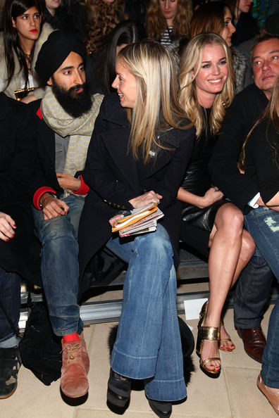 Cynthia Rowley - Front Row - Fall 2012 Mercedes-Benz Fashion Week [fashion,event,leg,footwear,long hair,jeans,party,nightclub,thigh,denim,cynthia rowley,hunter hill,meredith melling burke,rebecca romijn,waris ahluwalia,front row,l-r,iac building,mercedes-benz fashion week,fashion show]