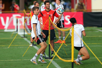 Mesut Oezil Thomas Mueller Germany Training Session