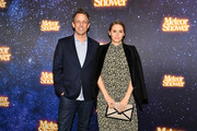 "Seth Meyers (L) and wife Alexi Ashe attend the ""Meteor Shower"" Broadway Opening Night at the Booth Theatre on November 29, 2017 in New York City."