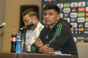 Marco Fabian and Jesus Gallardo of Mexico speak during a press conference ahead Mexico's National Team match against Costa Rica at Hotel Milenium on October 10, 2018 in Monterrey, Mexico.