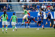 Forward Ariana Calderon #21 of Mexico heads the ball past Goalkeeper Hope Solo #1 of USA to score the first goal for Mexico in the first half during their international friendly match at StubHub Center on May 17, 2015 in Los Angeles, California.