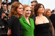 "Member of the Feature Film jury Agnes Jaoui, actress and member of the Feature Film jury Jessica Chastain and member of the Feature Film jury Maren Ade attend the ""The Meyerowitz Stories"" screening during the 70th annual Cannes Film Festival at Palais des Festivals on May 21, 2017 in Cannes, France."