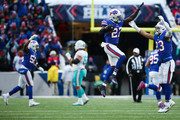 Tre'Davious White #27 of the Buffalo Bills celebrates after intercepting the ball during the fourth quarter to win the game against the Miami Dolphins on December 17, 2017 at New Era Field in Orchard Park, New York.