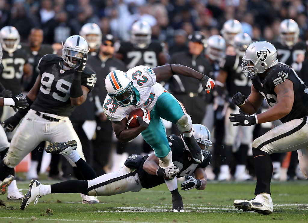Ronnie Brown In Miami Dolphins V Oakland Raiders