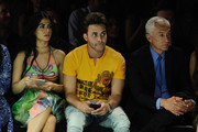 Emeraude Toubia, Prince Royce and Jorge Ramos attend day 2 of Miami Fashion Week at Ice Palace on June 3, 2016 in Miami, Florida.