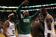 (L-R) Keyon Dooling #51, Paul Pierce #34 and Mickael Pietrus #28 of the Boston Celtics celebrate after they won 93-91 in overtime against the Miami Heat in Game Four of the Eastern Conference Finals in the 2012 NBA Playoffs on June 3, 2012 at TD Garden in Boston, Massachusetts. NOTE TO USER: User expressly acknowledges and agrees that, by downloading and or using this photograph, User is consenting to the terms and conditions of the Getty Images License Agreement.