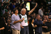Members of the Boston Celtics 1986 Championship team Kevin McHale and Bill Walton look on in the game against the Miami Heat at TD Garden on April 13, 2016 in Boston, Massachusetts. NOTE TO USER: User expressly acknowledges and agrees that, by downloading and/or using this photograph, user is consenting to the terms and conditions of the Getty Images License Agreement.
