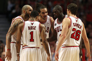 (L-R) Carlos Boozer #5, Derrick Rose #1, Joakim Noah #13, Luol Deng #9 and Kyle Korver #26 of the Chicago Bulls huddle up against the Miami Heat in Game Two of the Eastern Conference Finals during the 2011 NBA Playoffs on May 18, 2011 at the United Center in Chicago, Illinois. NOTE TO USER: User expressly acknowledges and agrees that, by downloading and or using this photograph, User is consenting to the terms and conditions of the Getty Images License Agreement.