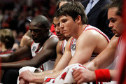 (L-R) Luol Deng #9, Derrick Rose #1, Kyle Korver #26 and Joakim Noah #13 of the Chicago Bulls look on dejected from the bench late in the fourth quarter against the Miami Heat in Game Two of the Eastern Conference Finals during the 2011 NBA Playoffs on May 18, 2011 at the United Center in Chicago, Illinois. The Heat won 85-75. NOTE TO USER: User expressly acknowledges and agrees that, by downloading and or using this photograph, User is consenting to the terms and conditions of the Getty Images License Agreement.