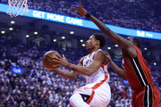 DeMar DeRozan #10 of the Toronto Raptors drives to the basket as Luol Deng #9 of the Miami Heat defends in Game Seven of the Eastern Conference Quarterfinals during the 2016 NBA Playoffs at the Air Canada Centre on May 15, 2016 in Toronto, Ontario, Canada.  NOTE TO USER: User expressly acknowledges and agrees that, by downloading and or using this photograph, User is consenting to the terms and conditions of the Getty Images License Agreement.