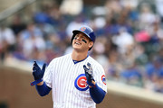 Anthony Rizzo #44 of the Chicago Cubs celebrates a double during the fourth inning of a game against the Miami Marlins at Wrigley Field on May 9, 2018 in Chicago, Illinois.