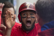 Andres Blanco #4 of the Philadelphia Phillies reacts in the dugout after scoring a run in the bottom of the third inning against the Miami Marlins at Citizens Bank Park on May 18, 2016 in Philadelphia, Pennsylvania.