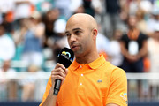 Miami Open Tournament Director James Blake speaks at the trophy ceremony after Roger Federer of Switzerland defeated John Isner during the Men's Final match on day 14 of the Miami Open presented by Itau at Hard Rock Stadium on March 31, 2019 in Miami Gardens, Florida.