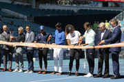 (from left) Miami Open Tournament Director James Blake, Endeavor CEO Ari Emanuel, Endeavor president Mark Shapiro, Naomi Osaka of Japan, Novak Djokovic of Serbia, Serena Williams of the United States, Roger Federer of Switzerland, Miami Dolphins owner Stephen Ross and president and CEO of Hard Rock Stadium Tom Garfinkel cut the ribbon during the Ribbon Cutting ceremony on Day 3 of the Miami Open Presented by Itau on March 20, 2019 in Miami Gardens, Florida.