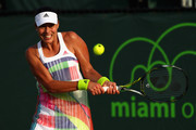 Ana Ivanovic of Serbia in action against Timea Bacsinszky of Switzerland in their third round match during the Miami Open Presented by Itau at Crandon Park Tennis Center on March 26, 2016 in Key Biscayne, Florida.