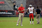 Maryland Terrapins head coach Randy Edsall watches his team warm up before the start of their game against the Miami Hurricanes at Byrd Stadium on September 5, 2011 in College Park, Maryland.