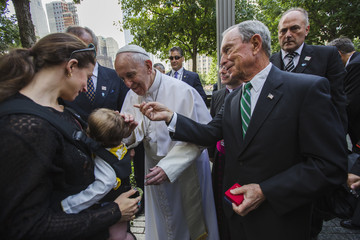 Michael Bloomberg Pope Francis Visits 9/11 Memorial and Museum in Lower Manhattan
