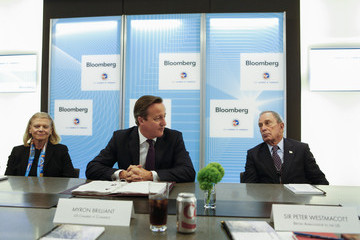 Michael Bloomberg David Cameron Attends CEO Roundtable