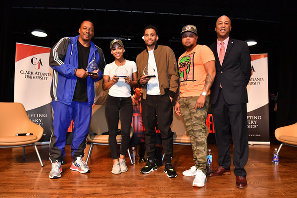 The Intruder Invades Clark Atlanta University's Spring Fest 2019 With Michael Ealy, Meagan Good, And Deon Taylor [event,talent show,youth,fashion,performance,competition,team,competition event,stage,heater,meagan good,michael ealy,dean of students,deon taylor,j. nicks,andre mckinney,l-r,student development,intruder invades clark atlanta university,spring fest 2019]