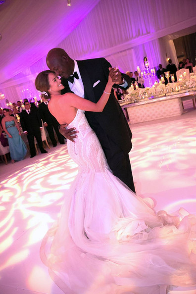 Michael Jordan Marries Yvette Prieto in Palm Beach [yvette prieto,michael jordan,pink,photograph,woman,man,gown,dance,bride,dress,bridal clothing,wedding dress,palm beach,florida,sea,bears club,jupiter,bethesda,wedding,wedding reception]