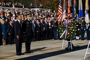 Michael Linnington President Obama Lays Wreath At Tomb Of The Unknowns At Arlington Nat'l Cemetery