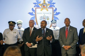 Michael Nutter Homeland Security Chief Jeh Johnson Holds Security Briefing Ahead Papal Visit in Philadelphia