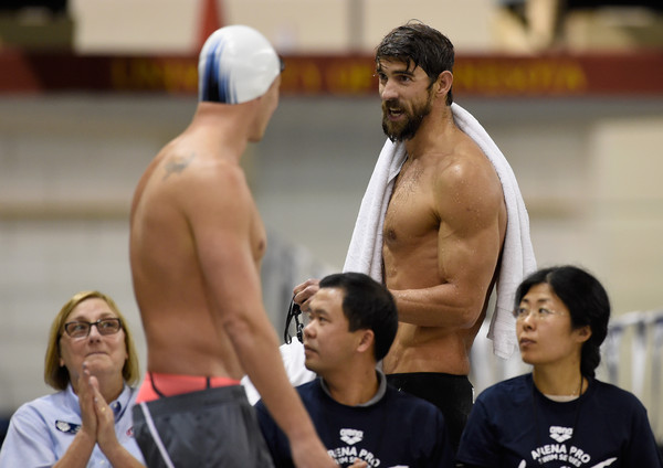 Arena Pro Swim Series - Day 1 [barechested,muscle,championship,competition,physical fitness,sport venue,sports,recreation,chest,competition event,jean k. freeman aquatics center,minneapolis,minnesota,arena pro swim series,heats,micheal phelps,ryan lochte]