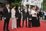 """(L to R) Actors Viktor Tremmel, Ursula Strauss, Michael Fuith, director Markus Schleinzer, actors David Rauchenberger, Christine Kain and Gisella Salcher attend the """"Michael"""" premiere at the Palais des Festivals during the 64th Cannes Film Festival on May 14, 2011 in Cannes, France."""