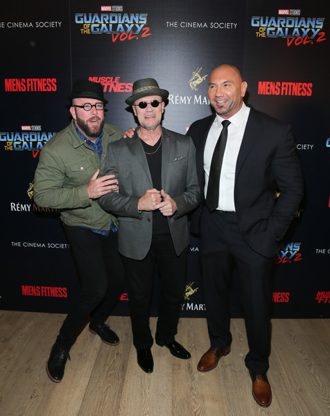 Remy Martin Presents 'Guardians of the Galaxy Vol. 2' Screening and After-Party [guardians of the galaxy vol. 2,premiere,suit,event,formal wear,remy martin presents guardians of the galaxy vol. 2 screening,dave bautista,chris sullivan,michael rooker,l-r,the whitby hotel,new york city,party,screening]