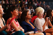 Nadine Warmuth, Sonja Kirchberger, Annette Weber sit in the front row during the runway during the Michalsky Style Nite 2012 Show at the Mercedes-Benz Fashion Week Spring/Summer 2013 on July 6, 2012 in Berlin, Germany.