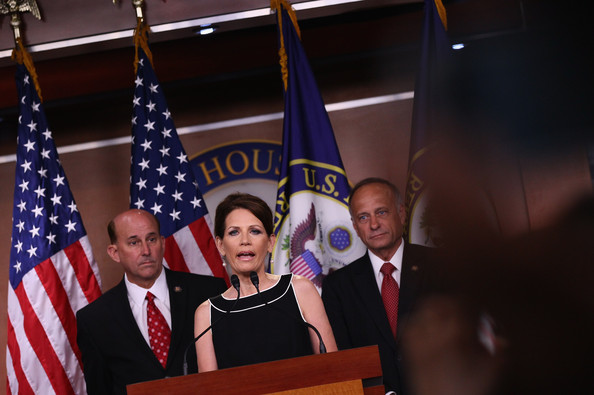 Michele Bachman Holds Press Conf. On Debt Ceiling And Military Benefits