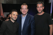 (L-R) Eugene Remm, Michael White and Mark Birnbaum attend the Michelin celebration of the 2016 Michelin Star Chef and restaurant recipients from New York City at Classic Car Club on September 30, 2015 in New York City.
