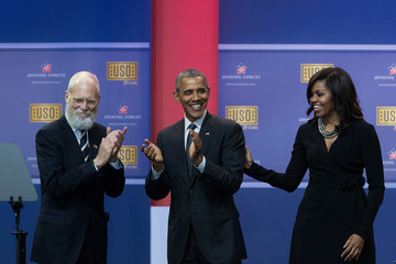 Michelle Obama Obamas and Bidens Attend USO Comedy Show for Military Appreciation Month