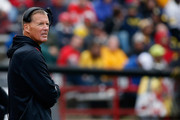Head coach Randy Edsall of the Maryland Terrapins looks on from the sidelines during the second half of their 28-0 loss to the Michigan Wolverines at Byrd Stadium on October 3, 2015 in College Park, Maryland.