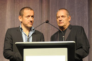 """Actor Dany Boon (L) and writer/director Jean-Pierre Jeunet onstage at the """"Micmacs"""" screening during the 2009 Toronto International Film Festival held at Roy Thomson Hall on September 15, 2009 in Toronto, Canada."""