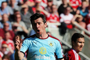 Joey Barton of Burnley reacts during the Premier League match between Middlesbrough and Burnley at Riverside Stadium on April 8, 2017 in Middlesbrough, England.