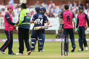 Mark Pettini and Ravi Bopara of the Essex Eagles celebrates victory over the Middlesex Panthers during the Natwest T20 Blast match at Lord's Cricket Ground on May 17, 2014 in London, England.