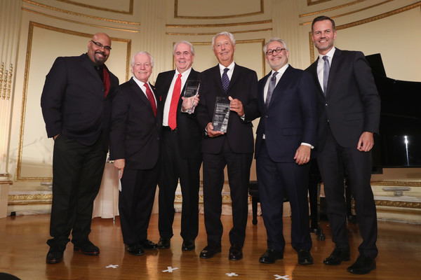 NYC & Company Foundation Visionaries & Voices Gala 2018 [suit,event,formal wear,tuxedo,team,honorees,james monroe iglehart,charlie flateman,mike morey,mike gallagher,roger dow,fred dixon,l-r,the plaza,nyc company foundation visionaries voices gala]